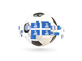 Soccer ball with line of flags. Flag of martinique