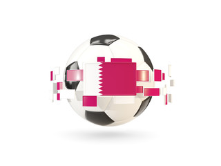 Soccer ball with line of flags. Flag of qatar