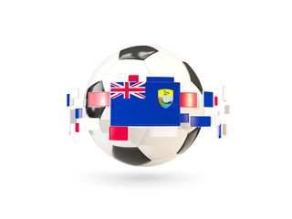 Soccer ball with line of flags. Flag of saint helena