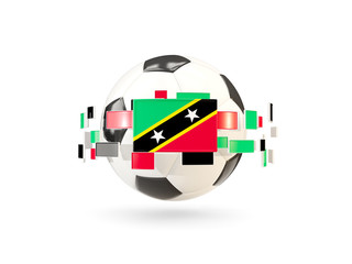 Soccer ball with line of flags. Flag of saint kitts and nevis
