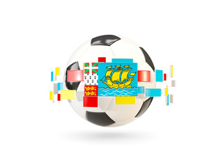 Soccer ball with line of flags. Flag of saint pierre and miquelon