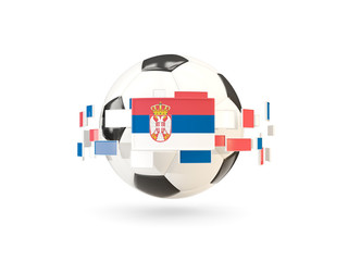Soccer ball with line of flags. Flag of serbia