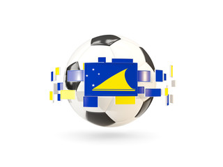 Soccer ball with line of flags. Flag of tokelau