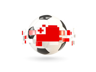 Soccer ball with line of flags. Flag of tonga