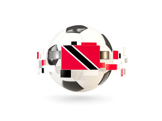 Soccer ball with line of flags. Flag of trinidad and tobago
