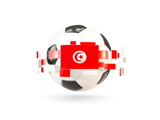 Soccer ball with line of flags. Flag of tunisia