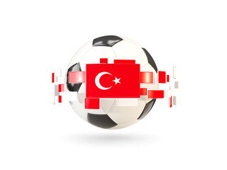 Soccer ball with line of flags. Flag of turkey