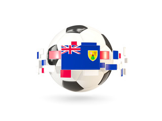 Soccer ball with line of flags. Flag of turks and caicos islands