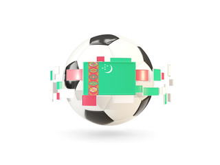 Soccer ball with line of flags. Flag of turkmenistan