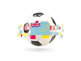 Soccer ball with line of flags. Flag of tuvalu