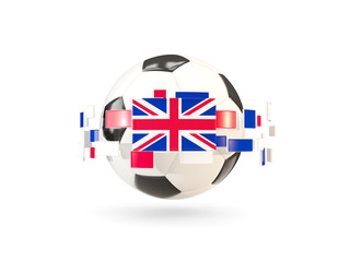 Soccer ball with line of flags. Flag of united kingdom