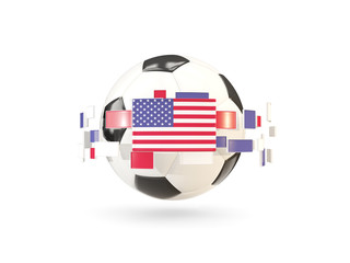 Soccer ball with line of flags. Flag of united states of america