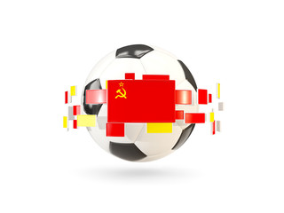 Soccer ball with line of flags. Flag of ussr