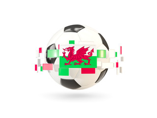 Soccer ball with line of flags. Flag of wales