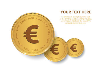 Gold coin with Euro sign