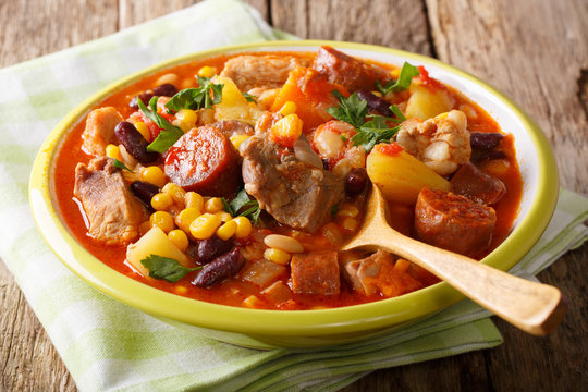 Cachupa is the signature dish of the Cape Verde Islands. Is a slow cooked stew of corn, beans, vegetables and meat