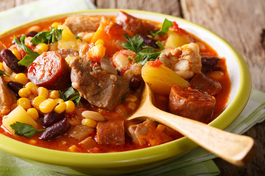 National dish Cape Verde - Cachupa stew with meat and vegetables close-up. horizontal