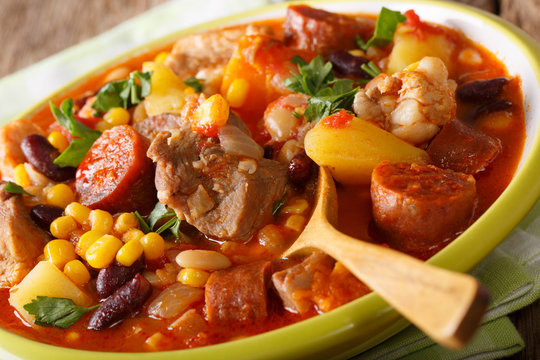 Cachupa is a famous dish from the Cape Verde islands. This slow cooked stew of corn, beans, cassava, sweet potato, meat