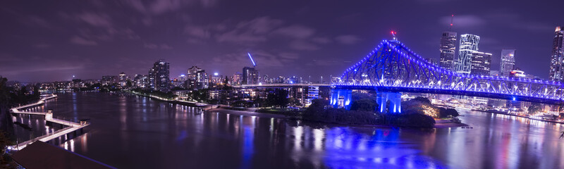 Iconic Story Bridge, river and Newfarm Riverwalk in Brisbane, Queensland, Australia.