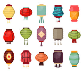 Chinese lantern vector traditional china culture festival celebration asia oriental decoration illustration