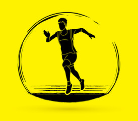 Athlete runner, A man runner running graphic vector