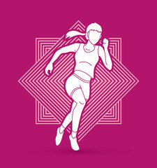 Athlete runner, A woman runner running designed on line square background graphic vector