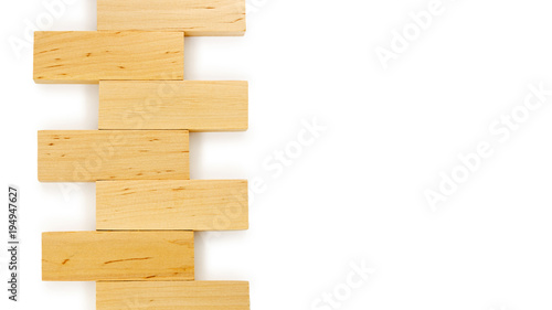 Wooden bricks isolated on white background  Copy space