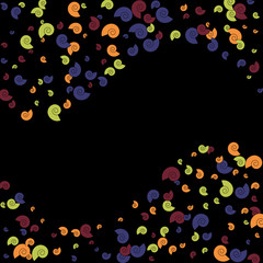 Vector Confetti Background Pattern. Element of design. Color spirals on a black background