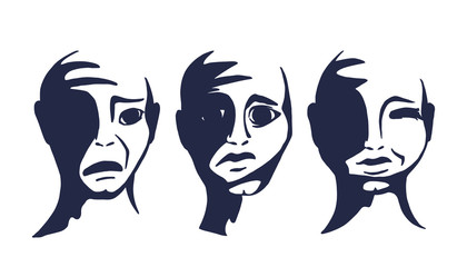 Abstract faces of people. The human head with different emotions. Vector illustration.