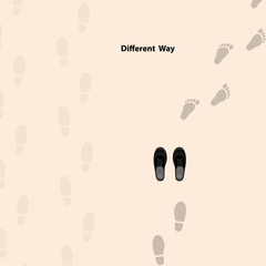 Footprints icon design vector template.Different thinking for success in life.Different thinking and leadership concept.Vector illustration