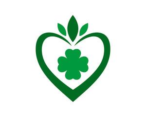 green clover heart pattern ornament ornamental image vector icon