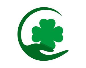 green clover hand pattern ornament ornamental image vector icon