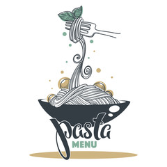 Pasta Menu, hand drawn sketch with lettering composition for yout logo, emblem, label