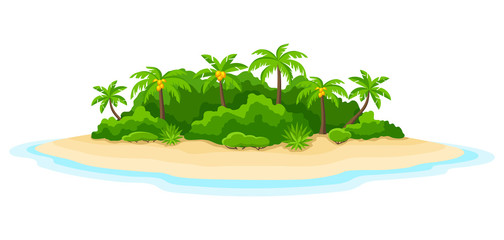 Illustration of tropical island in ocean. Landscape with ocean and palm trees. Travel background Wall mural