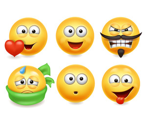 Smiley face icons. Funny faces 3d set, Cute yellow facial expressions collection 3.