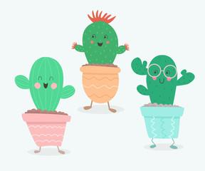 Cute cartoon cactuses. vector illustration.