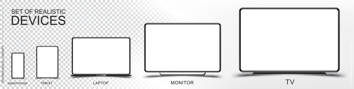 Set Mock-up of realistic devices. Smartphone, tablet, laptop, monitor and TV on a transparent and white background. Flat vector illustration EPS 10
