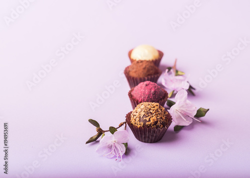 A variety of chocolate candies on a purple background