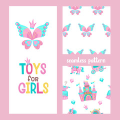 Set of vector seamless patterns. Greeting card with a beautiful butterfly. Toys for girls. Pink fairy castle, pink pony, Princess dress, diamonds.