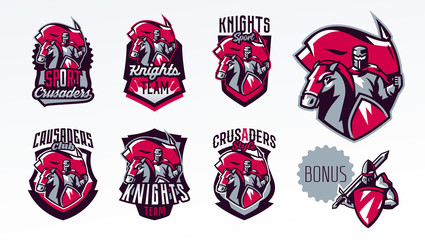 A set of emblems, logos, stickers, a knight with a flag on a horse. Crusader, swordsman, warrior, armor, banner, stallion. Shield, lettering, print. Vector illustration
