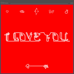 a straight continuous line has created the inscription I love you
