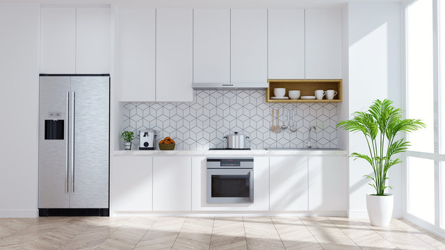 Modern kitchen white room interior .3drender