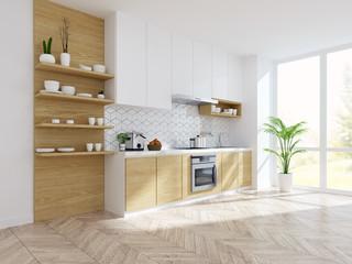Modern kitchen white room interior,empty room .3drender