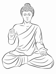 illustration of buddha, vector draw