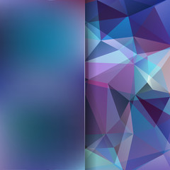 Geometric pattern, polygon triangles vector background in blue, purple tones. Blur background with glass. Illustration pattern