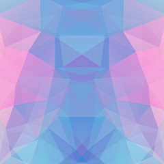 Abstract background consisting of blue, pink triangles. Geometric design for business presentations or web template banner flyer. Vector illustration