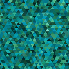 Abstract seamless mosaic background. Triangle geometric background. Vector illustration. Green, blue colors.