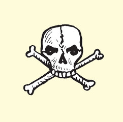 Skull and crossbones, isolated hand drawn vector outline doodle illustrationŒ