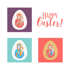 Happy Easter! Vector illustration. The virgin and Jesus Christ. Easter egg.