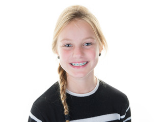 beauty blond young girl whith braces